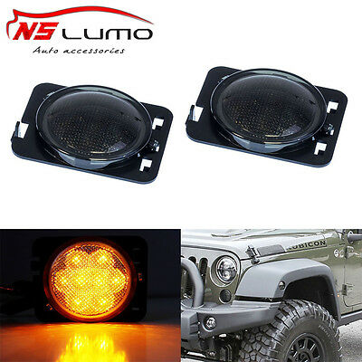 07-15 Jeep Wrangler Led Side Marker Lights 4w Smoke Corner Fender Turn Singal