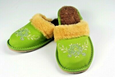 cc4ac61ede63 Ladies REAL Sheepskin Slippers Mules Non Slip Hard Sole LEATHER SLIPPERS 41