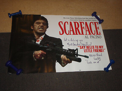 """LARGE Scarface Poster Signed by Mark Brandon """"Chopper"""" Read Authentic"""