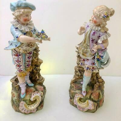 Antique German Porcelain Pair Of Victorian Boy Girl Couple Anchor Mark Flowers