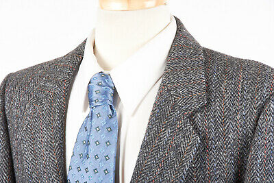 Uomo Harris Tweed Sport Giacca 42 R a Carboncino Grigio a Righe a Spina di  Pesce 407fe4f4793