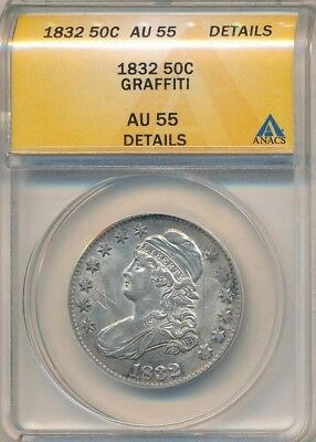 1832 Capped Bust Silver Half Dollar-Anacs Graded Au55 Details-Ships Free!