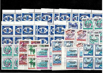Bosnia, Croatia, 1992-1997, lot stamps with overprint in blocks of four, MNH