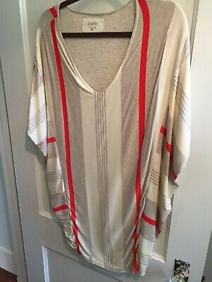 cbbfb1541a501 Anthropologie Puella Women's Top Gray Ivory Orange Tunic Short Sleeve Size  MP