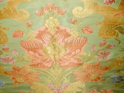 Antique Silk Brocade Fabric  38 inches long by 22 1/4 wide!