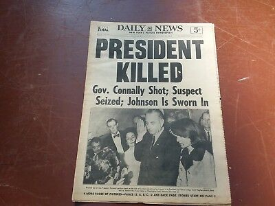 NOV 22 1963 KENNEDY KILLED JFK Assassination Newspaper