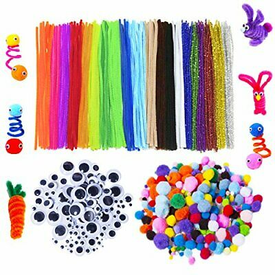 SUPER KIDS CRAFT PACK (600 pcs) Pipecleaners, Joggle Eyes, Pom-Poms FREE POST