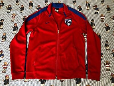 45823a8528 Authentic 2017 Nike N98 T USA Soccer Warmup Track Jacket Red Blue Men  Medium M