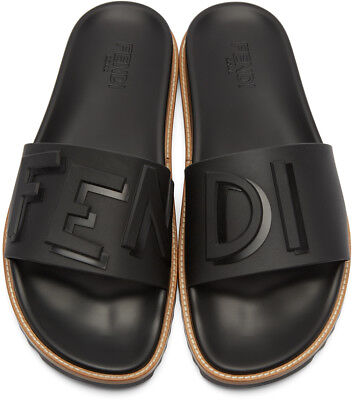 b0c079f3caa646 Fendi Black Rubber  Fendi Vocabulary  Slides Sandals Size  US  11   UK
