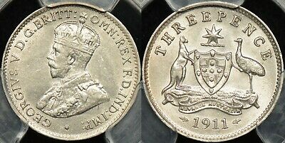 Australia 1911 Threepence Almost Uncirculated PCGS AU58