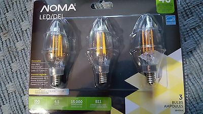 Noma Dimmable 4.5W Led=40W B11 2700K Soft White Chandelier Bulb 3 pack