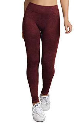 a58c1148e1079f Nikibiki Womens Seamless Premium Vintage Moto Leggings Dark Burgundy, One  Size