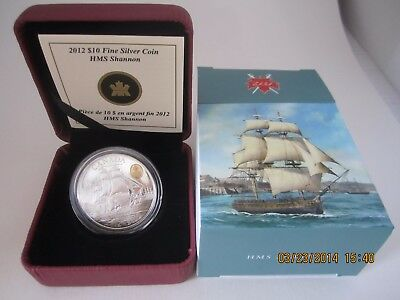 "Canada 2012 $10  Coin HMS Shannon  ""The War of 1812 "" 99.99% Silver Gold Plated"