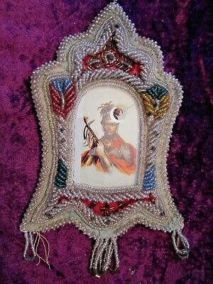 Antique Iroquois Beaded Picture Frame ( with image of Chief Cornplanter )