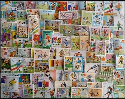 FOOTBALL On Stamps-100 Different Large Used Mixed Worldwide Stamps