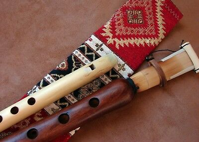 Handmade Pro Armenian Duduk and Flute Apricot Wood in Ornament cover and Gift