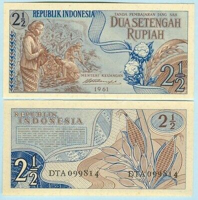 """Indonesia 1961 2.5 Rupiah Banknote """" Dry Flower """" P77 UNC - BN557 NTO14 03"""