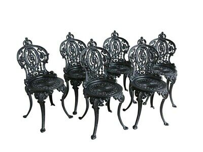 Set of 6 Cast Iron Vintage Garden Chairs - Outdoor Reclaimed - Painted - UKAA