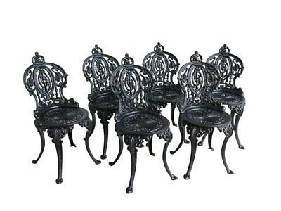 Set of 6 Cast Iron Vintage Garden Outdoor Chairs - Reclaimed