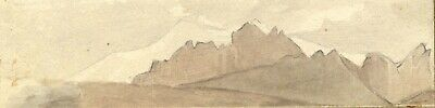 David Mocatta, Mountain Peaks - Original early 19th-century watercolour painting