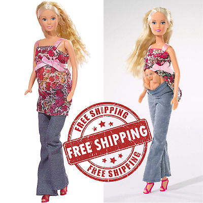 Steffi Love Barbie Girl Pregnant Doll Removable Tummy Baby Accessories Girls Toy
