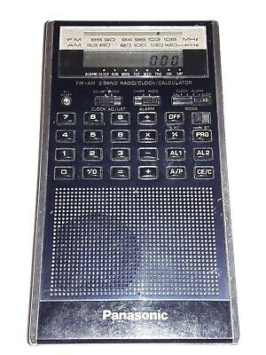 Tested Working 1980's Panasonic Rf-079 Am Fm 2 Band Radio Clock Calculator Thin