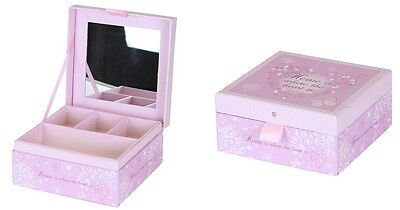 Home & Heart Design Jewelry Box With Mirror Gift Room Decoration Tidy Box Pink