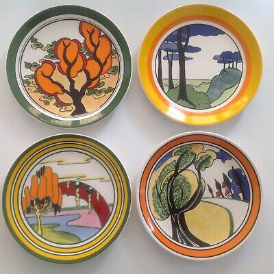 """Clarice Cliff ' Bizarre 'collection by Wedgewood four certificated 10"""" plates"""