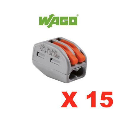 Wago X 15 Bornes Connexion Rapide 2 Entrees Electricite Raccord Domino Lot Set
