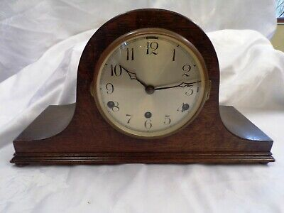 Anvil Mantel Clock Oak Case Napoleon Hat shape Chimes every quarter and hourly