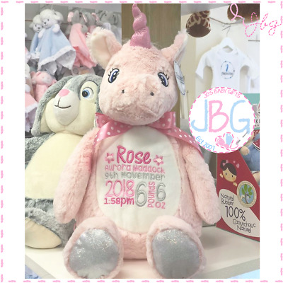 Personalised Embroidered Pink Unicorn Teddy Bear, New Baby-Birthday Gift