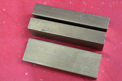 "3 Pieces 1"" x 2"" C360 BRASS FLAT BAR 6"" long New Solid Mill Stock H02 1.0""x 2.0"""