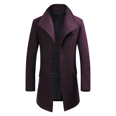 Mens Winter Single-breasted Oferta Blended Trench Coat Fashion Solid Colour