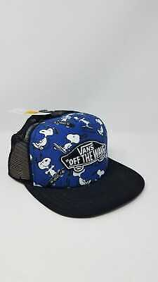 54bfc716953 Vans X Peanuts Snoopy Blue Classic Patch Trucker Snapback Cap Hat One Size  Nwt