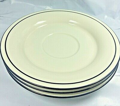 """Lenox Chinastone Blue Pinstripe """"For the Blue Patterns""""  6 1/4"""" Saucers Lot of 4"""