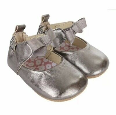 Robeez Infant Girls Amelia Ankle Strap Grey Leather Soft Soles Soes Sz 18-24 Mo
