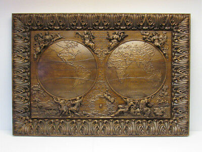 Wooden 3D antique style map of world bas-relief. Art woodworking. Carved wood.