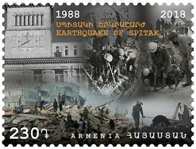 Armenia MNH** 2018 Mi 1088 Earthquake of Spitak - 1988 Square of Gyumri
