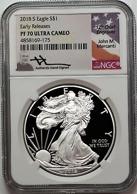 2018 S $1 Proof Silver Eagle NGC PF70 Ult Cameo Early Releases Mercanti Signture