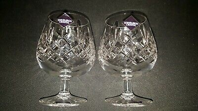 Vintage Edinburgh Crystal Pair Of Lomond Brandy Glasses  5 Inches Unused