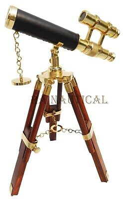 Nautical Marine Solid Brass Working Telescope W/ Wooden Tripod Office Decor Item
