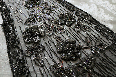 Pannello tulle ricamato parte di abito antico Antique dress panel sequins beads
