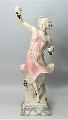 "Gorgeous 30"" ITALIAN ART NOUVEAU Alabaster Sculpture  Lady w/ Grapes  c. 1900"