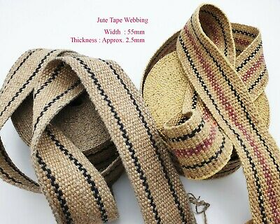 50mm Jute Tape Webbing Stripe Trim Rustic Strip Hessian Natural Craft Upholstery