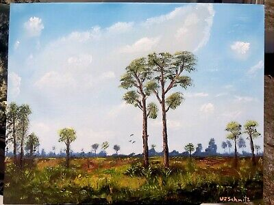 Florida Highwaymen Inspired Oil Painting 14x18 On Canvas Board By W J Schmitz