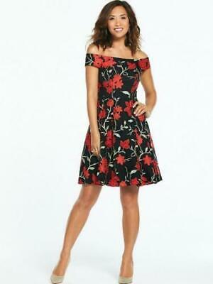 MYLEENE KLASS EMBROIDERED Lace Prom Dress - Black Red - Size 8 ... 185bf5463