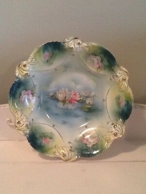 """R.S. Prussia 10 ½"""" Serving Bowl Floral w Teal Gold & Water Lilies BEAUTIFUL EUC"""