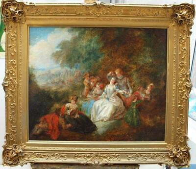 18th Century FETE CHAMPETRE ANTOINE WATTEAU 1684-1721 fllw Antique Oil Painting