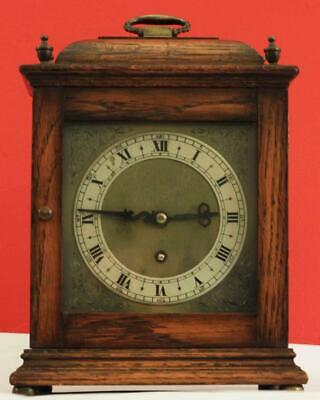 Antique English Oak 16Th Century Style 8 Day Square Dial Bracket Clock