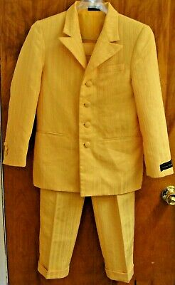 NWT Vintage, Hand Tailored Dino Divinci, Boy's Stripe 12R 26W Suit Golden Yellow